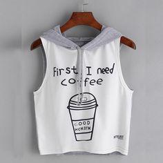 First I Need Coffee Printed Sleeveless Top. First I Need Coffee Printing Sleeveless Top.