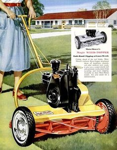 Moto-Mower Reel Lawn Mower, Lawn Mower Tractor, Vintage Tractors, Old Tractors, Lawn Tractors, Vintage Advertisements, Vintage Ads, Retro Advertising, Lawn Equipment