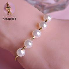 Korean Style White Pearl Bracelets Rhodium Plated Adjustable Bracelet Perolas Pulseiras Elegant Women Bijoux Fine Jewelry Joias