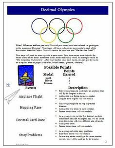 FREEBIE from Wise Guys!  Decimal Olympics Math Games and Activities (Common Core)