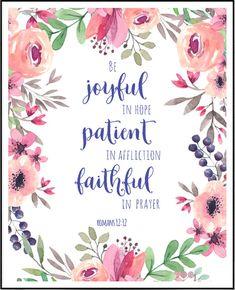 Romans 12 12 Be Joyful Christian Decor Christian Wall Art Bible Verse Print Christian Gifts S