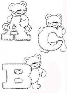 drawings-alphabet-teddy-bears-ornament-classroom-for-children- – alphaber and ted … - Stickerei Ideen Alphabet A, Alphabet Templates, Embroidery Alphabet, Embroidery Monogram, Felt Patterns, Applique Patterns, Initial Canvas, Coloring Books, Coloring Pages