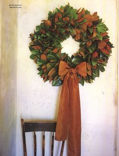 Magnolia wreath - the epitome of Southern Christmas (photo only)