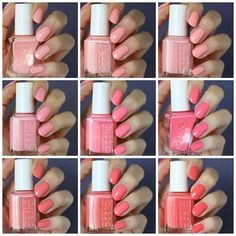 Essie Peachy-Pink Coral Comparison : Couture Curator, Van D'Go, Excuse Me Sur, Groove Is In the Heart, Knockout Pout, Signature Smile, Stones 'n' Roses, Lounge Lover & Carousel Coral | Essie Envy