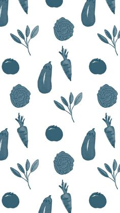 FREE downloadable phone and desktop background. Blue veggies design...adorable!!