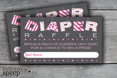 "My plan i want to do at my babyshower!! ""BABY Banner Girl Diaper Raffle Cards/Tickets by doodlebugandpeep, $5.00"""