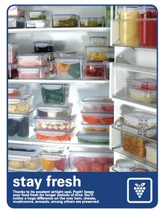 Organize your fridge with Popit! Airtight Containers! They keep food fresh and stack up neatly!