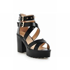 Carol Shoes Rivet Women's Buckles Fashion Studded Zipper Strappy Platform Chunky High Heel Sandals * Check this awesome product by going to the link at the image.
