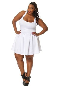 Plus Size Solid Cross Back Flare Dress