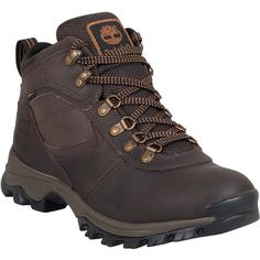 Timberland Mt. Maddsen Mid Waterproof Hiking Men's  Boot ($110) ❤ liked on Polyvore featuring men's fashion, men's shoes, men's boots, brown, mens brown lace up shoes, mens waterproof leather boots, mens brown lace up boots, mens leather lace up boots and timberland mens boots