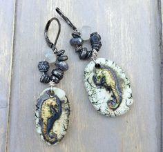 by Sheri Mallery, Fossil like Rustic Seahorse earrings by SheriMalleryHandwork.etsy.com