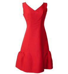 1960s Malcolm Starr evening dress with ruffled hem, sleeveless, deep pink, silk