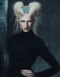 avant garde hairstyle. double barrel rolls (?) Futuristic, inspiration for hair and makeup I'll have to do for a catwalk
