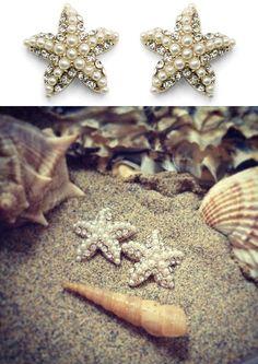pearly starfish earrings