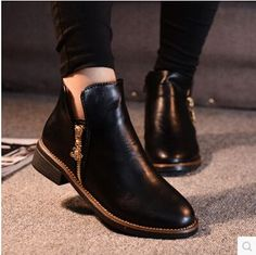 detailing 443c0 5d38a 2014 autumn winter women boots ankle boots flat heel side zip martin boots  women flat shoes brand boots NX35 3