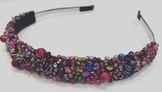 Burlesque, handmade hairband with matubo beads and pink tiger eye. Perfect for autumn. @botwinkaa