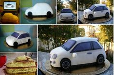 car cake tutorial white fiat from the Zuccheri Amo blog