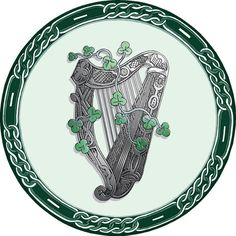 Irish Celtic Drinks Coaster - Harp and Shamrock The Harp is the national emblem of Ireland and the Shamrock is our National flower.