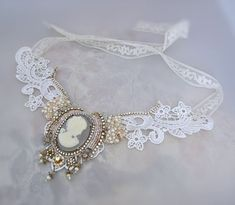Bridal lace necklace with bead embroidery cameo by LaCamelot