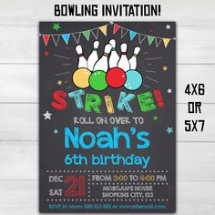 Bowling birthday party invitation Bowling by SuperInstantParty