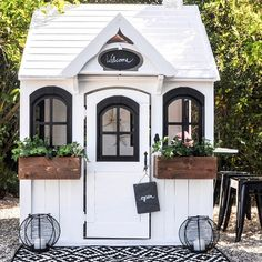 farmhouse chic playhouse Oh.I was thinking this would be my real house 😳 Build A Playhouse, Playhouse Outdoor, Painted Playhouse, Outdoor Sheds, Playhouse Decor, Cubby Houses, Play Houses, Dog Houses, Farmhouse Chic