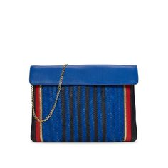 Featuring an exterior woven pattern and a multi-colored border with a hint of gold shimmer, the Harper clutch is the answer to your search for the perfect casualwear clutch.