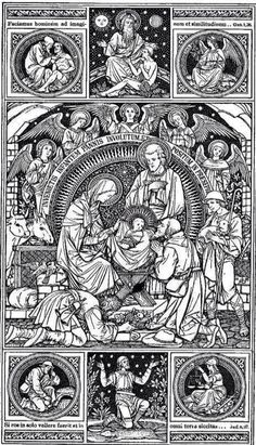 christmas coloring pages for adults - arya Catholic Art, Religious Art, Christmas Present Coloring Pages, Jesus E Maria, Christ The King, Holy Family, Art Themes, Sacred Art, Coloring Book Pages