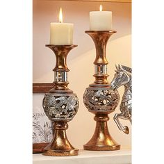 Add instant warmth and ambiance with this Langi Clinging Florals Candle Holders Set. With a transitional silhouette and silvery and gold finish, these candle holders set works beautifully on a mantel or as a dramatic centerpiece for a festive Floor Candle Holders Tall, Silver Candle Holders, Hurricane Candle Holders, Candle Holder Decor, Candle Lamp, Gold Candles, Pillar Candles, Luxury Candles, Scented Candles