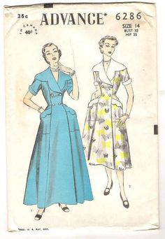 Advance 6286 (1953) Housecoat or brunch coat.