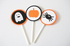 Set of 12 Halloween Cupcake Toppers Ghost, Spiders and Pumpkins by PassTheScissorsShop Halloween Party Decor,  Halloween Decorations
