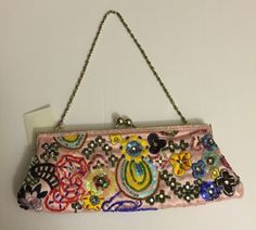 So Cute! Pink Beaded Sequined Floral Satin Small Clutch Purse Wristlet NWT | Clothing, Shoes & Accessories, Women's Handbags & Bags, Handbags & Purses | eBay