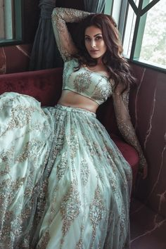 This is just absolutely gorgeous though 😍🔥👸🏽 Such a lush summer colour that looks stunning 🙌🏽🤤 Future bae's desi outfit wardrobe honestly… Indian Dresses, Indian Outfits, Lehenga Designs, Groom Outfit, Indian Celebrities, Traditional Looks, Saree Styles, Bollywood Fashion, Bollywood Style