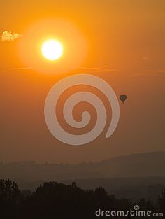 The balloon in sunrise in Poland