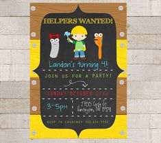 Printable Home Depot inspired birthday invitation ...