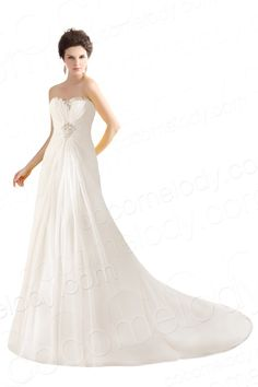 Cute A-Line Sweetheart Natural Train Chiffon Ivory Sleeveless Lace Up-Corset Wedding Dress with Draped and Crystals CWLT14060 $239.00 wedding dress, wedding dress, wedding dress, wedding dress, wedding dress