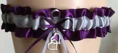Plum Purple and Silver Wedding Garter, Prom Garter