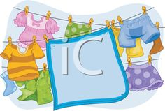 iCLIPART - Royalty Free Clipart Image of a Blanket and Children's Clothes Hanging on a Line
