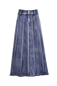 "Skirt details: * petite length 35.5"" * regular fit * stretch brushed denim * two pockets A-line style * front zipper & belt loops * seams & fringe design * 98% cotton, 2% spandex * You've been busy he"