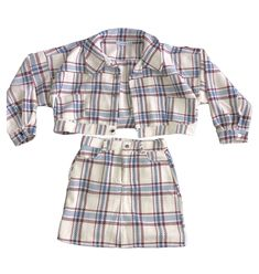 Plaid jacket and Skirt Matching Set ropa reciclada blusas manualidades Shop All Skirt Outfits, Casual Outfits, Cute Outfits, Fashion Outfits, Diy Kleidung Upcycling, Diy Clothes Design, Clueless Outfits, Vintage Outfits, Skirt And Top Set