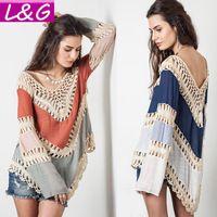 Estilo del verano 2015 mujeres blusas multicolores cuello en v de encaje de ganchillo Kimono Blusa más el tamaño Blusa Feminina Tops camisa Mujer Ropa 40232