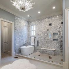 Master bath remodel - traditional - bathroom - atlanta - by boyce design and contracting Wet Room Bathroom, Master Bathroom Shower, Modern Bathroom, Bathroom Shower Remodel, Mirrored Tile Bathroom, Bathroom With Shower And Bath, Shower Bath Combo, Bath Tub For Two, Master Bathroom Plans
