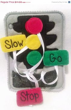 SALE Felt  traffic light quiet book page children practice matching light colors with words
