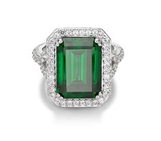 Monte Carlo Verde Ring   Platinum on Silver Emerald Cut Ring with Emerald and White Stones $230
