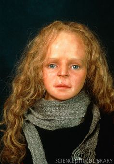 Reconstructed face of Yde Girl, found in the Dutch Bourtangermoor. The poor young woman had a short life (she was about 16 when she died) and suffered a brutal death. She had scoliosis and was little more than 4.5 feet tall. Part of her right foot appeared swollen, as if she placed most of her body weight on that side