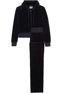 VETEMENTS + Juicy Couture embroidered cotton-blend velvet tracksuit. #vetements #cloth #pants