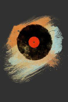 Vinyl Records Retro Music DJ Vintage Paint Brushes