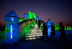 Ice blocks staircases at the Harbin International Ice and Snow Festival, Jan 5th, 2012 (Andy Wong/Associated Press)