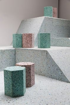 Brutalist playground rendered in foam | product design, geometric, color, industrial, concept, minimalism