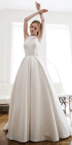 adam zohar 2017 bridal sleeveless halter neck simple clean classic ball gown wedding dress rasor back chapel train (17) mv
