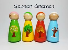 Season Gnomes Peg Doll Set, Montessori Learning Resource, Unique Gift, Wooden Toys, Nursery Decor